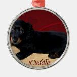 Fun iCuddle Long Hair Dachsund Metal Ornament