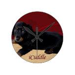 Fun iCuddle Long Hair Dachsund Round Clock