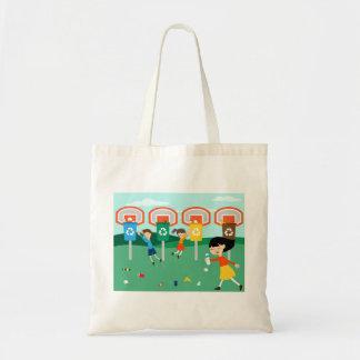Fun illustration for eco green education tote bag