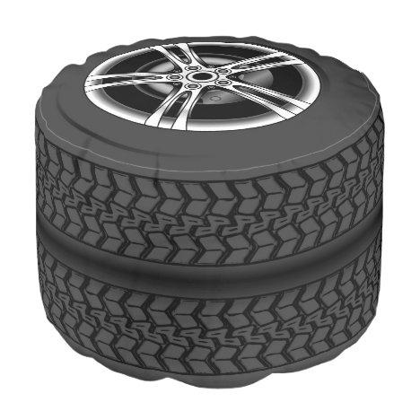 Fun illustration of black car tires and wheel rims pouf