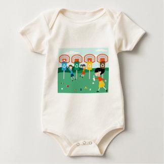 Fun illustration with children playing at basket baby bodysuit