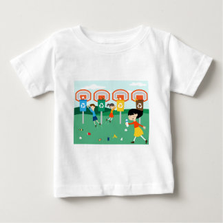 Fun illustration with children playing at basket baby T-Shirt