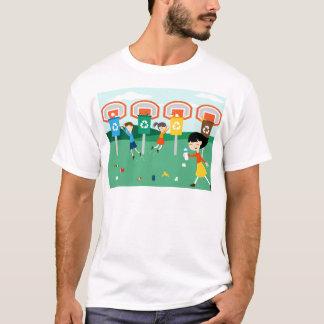 Fun illustration with children playing at basket T-Shirt