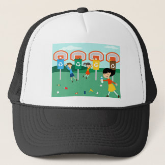 Fun illustration with children playing at basket trucker hat