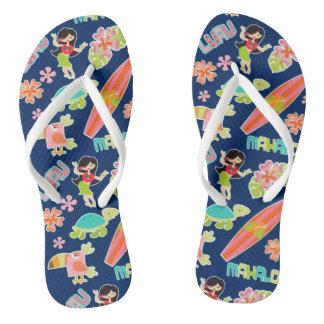 Fun in Hawaii Navy Blue Pattern Flip Flops