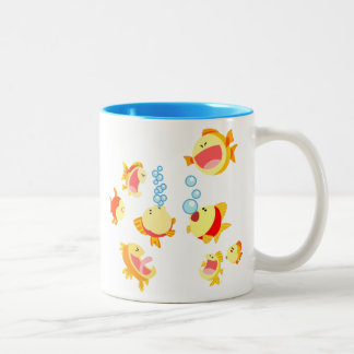 Fun in The Fish Tank (Cartoon Fish) Two-Tone Mug