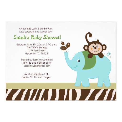 Fun in the Jungle Elephant Baby Shower Invitation