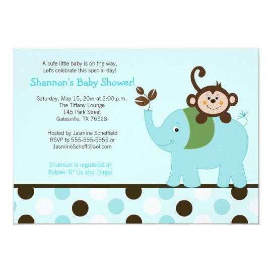 Fun in the Jungle Elephant Invitation - Blue Dot