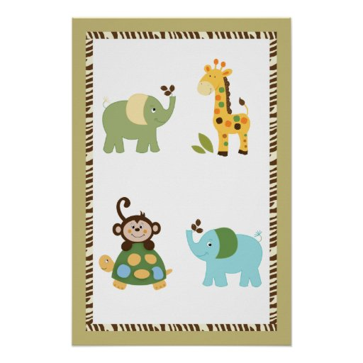 Fun in the Jungle Nursery Art Poster 16x24