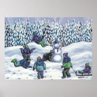 Fun in the snow print
