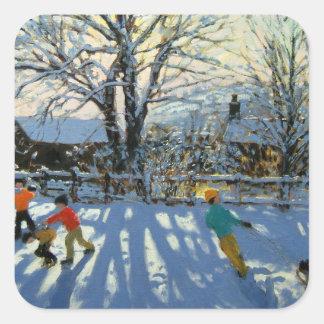 Fun in the snow Tideswell Derbyshire Square Sticker