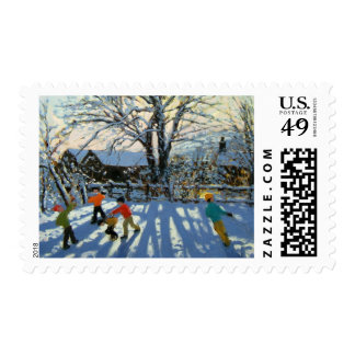 Fun in the snow Tideswell Derbyshire Stamp