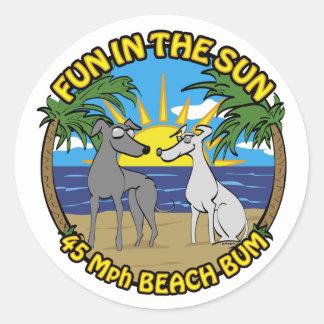 FUN IN THE SUN 45 Mph BEACH BUM Classic Round Sticker