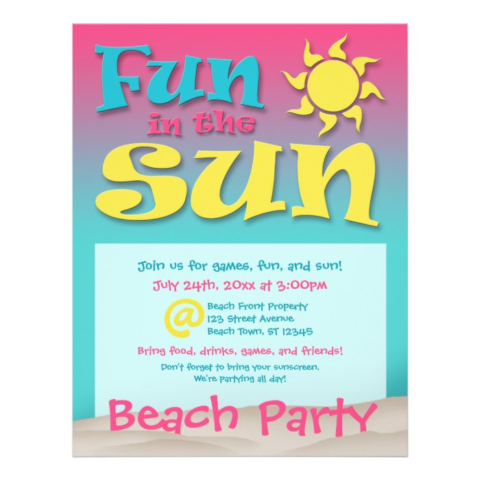 Fun in the Sun - Beach Party Flyers