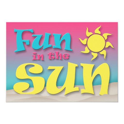"""Fun in the Sun - Beach Party Invitations 5"""" X 7"""" Invitation Card"""