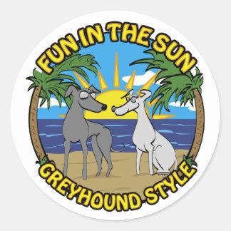FUN IN THE SUN GREYHOUND STYLE CLASSIC ROUND STICKER