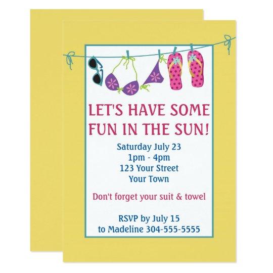 Fun In The Sun Pool Party Birthday Card