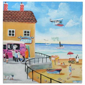 'fun In The Sun' summer beach painting Napkin