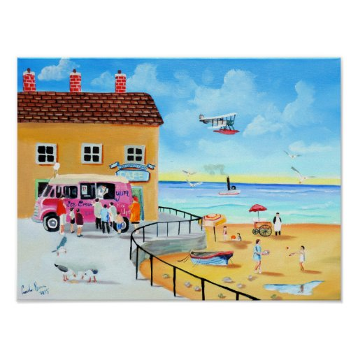 'fun In The Sun' summer beach painting Poster