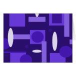 Fun Indigo Purple Blue Geometric Shapes Pattern Greeting Cards