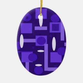 Fun Indigo Purple Blue Geometric Shapes Pattern Ceramic Ornament