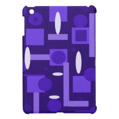 Fun Indigo Purple Blue Geometric Shapes Pattern iPad Mini Cover