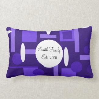 Fun Indigo Purple Blue Geometric Shapes Pattern Throw Pillows