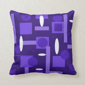 Fun Indigo Purple Blue Geometric Shapes Pattern Throw Pillow