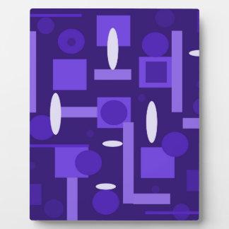 Fun Indigo Purple Blue Geometric Shapes Pattern Display Plaques