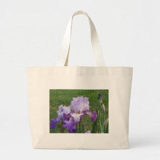 Fun Iris tote bag, colorful graceful flowers