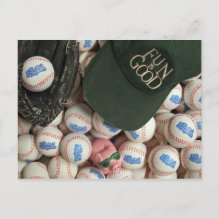 Fun Is Good Postcard - Image of the FUN is GOOD motto sitting in a box of soft baseballs.