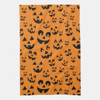 Fun Jack-o-lantern Faces Halloween Pumpkin Pattern Hand Towel