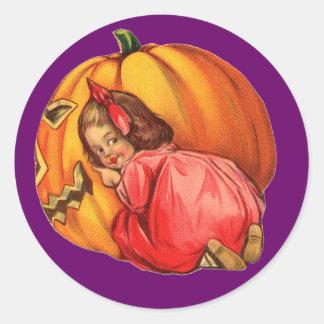 Fun Jack o' Lantern & Girl Halloween Fun Stickers