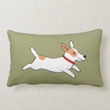 jennsdoodleworld Fun Jack Russell Terrier - Color Customizable Lumbar Pillow