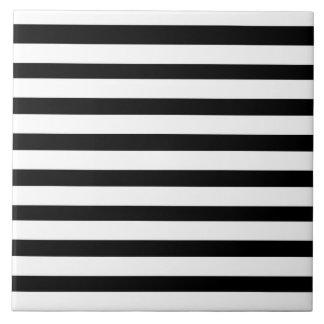 Fun Jailbird Black and White Striped Pattern Ceramic Tile