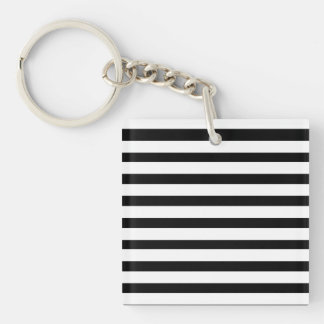 Fun Jailbird Black and White Striped Pattern Double-Sided Square Acrylic Keychain