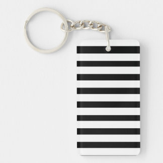 Fun Jailbird Black and White Striped Pattern Double-Sided Rectangular Acrylic Keychain