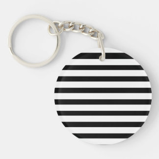 Fun Jailbird Black and White Striped Pattern Double-Sided Round Acrylic Keychain