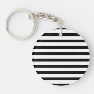 Fun Jailbird Black and White Striped Pattern Single-Sided Round Acrylic Keychain