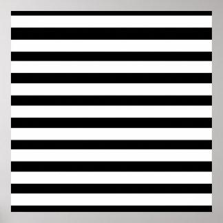 Fun Jailbird Black and White Striped Pattern Poster