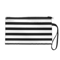 Fun Jailbird Black and White Striped Pattern Wristlet