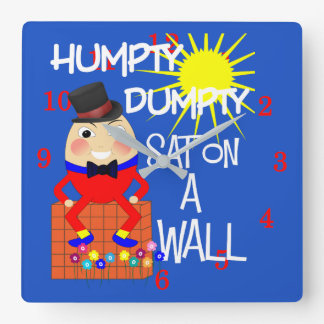 Fun Jolly Nursery Rhyme Humpty Dumpty Cute Square Wall Clock