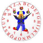 Fun Juggling Circus Clown Alphabet Picture Clocks