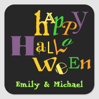 Fun jumbo typography colorful Halloween favor tag Square Sticker