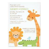 Fun Jungle Animals Baby Shower Invitation