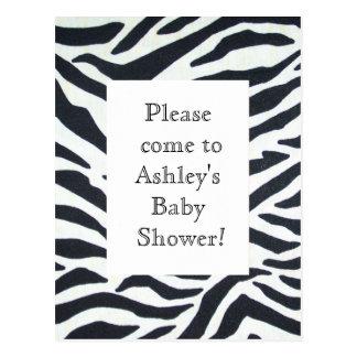 Fun Jungle Black White Zebra Birthday Shower Invit Postcard