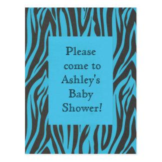Fun Jungle Blue Zebra Birthday Shower Invitation Postcard