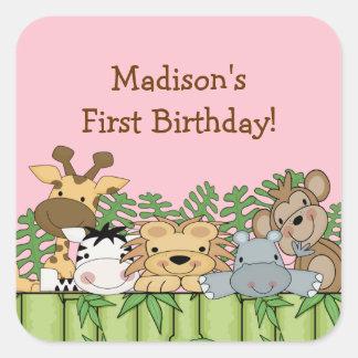 Fun Jungle Safari Birthday Sticker