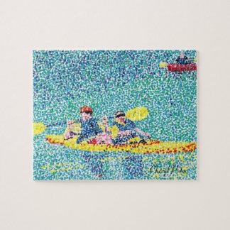 Fun Kayak Scene in Pointillism Puzzle