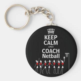 Fun Keep Calm and Coach Netball Design Keychain